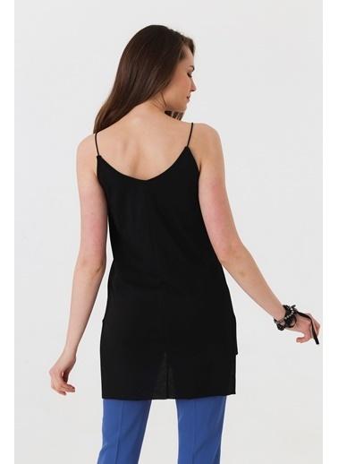Jument Lycrasız Pamuk İp Askılı Dantelli Yırtmaçlı Bluz Siyah